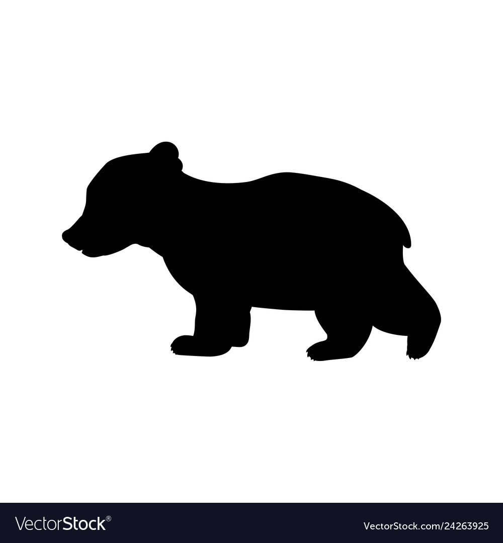 Bear Cub Wild Black Silhouette Animal Vector Image