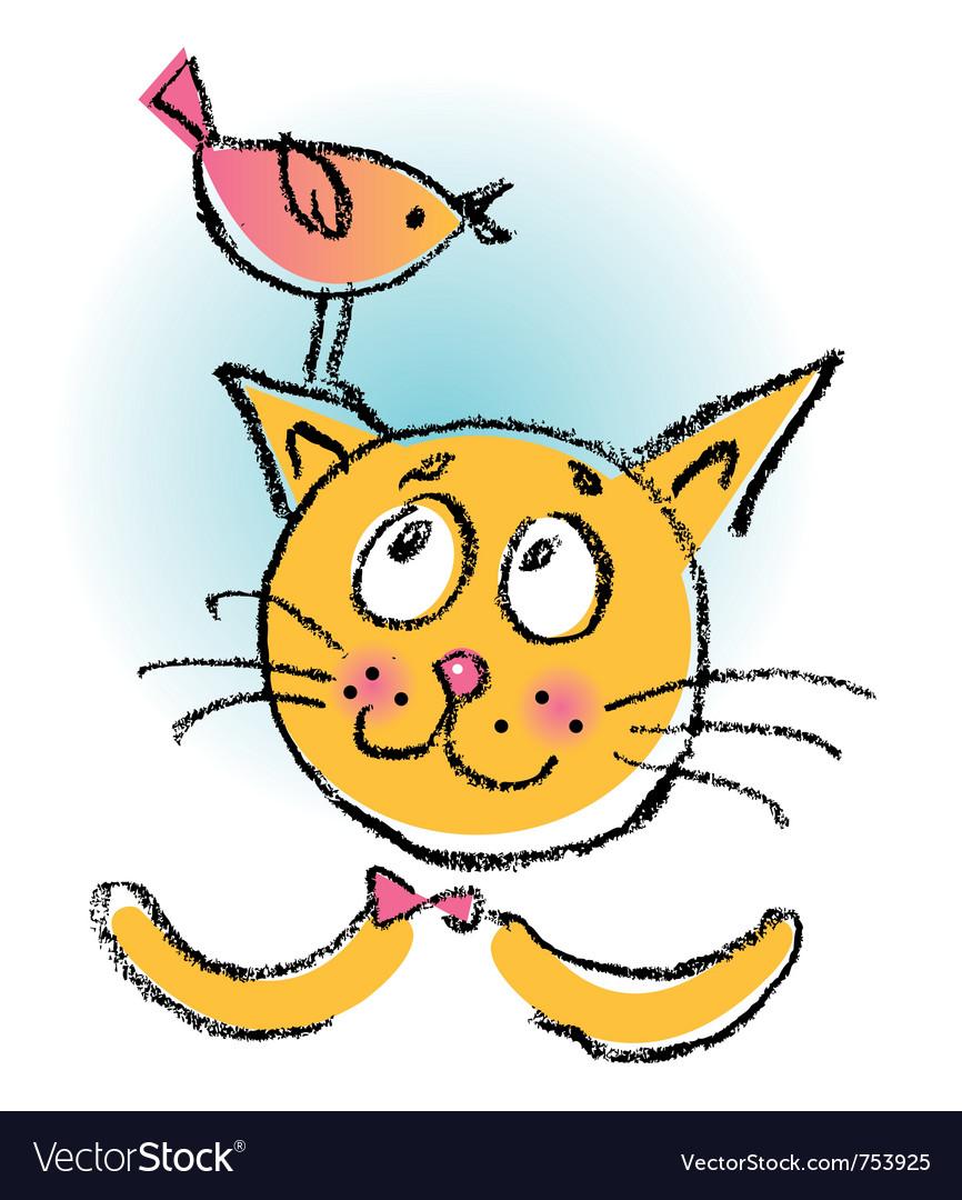 Cat with bird cartoon