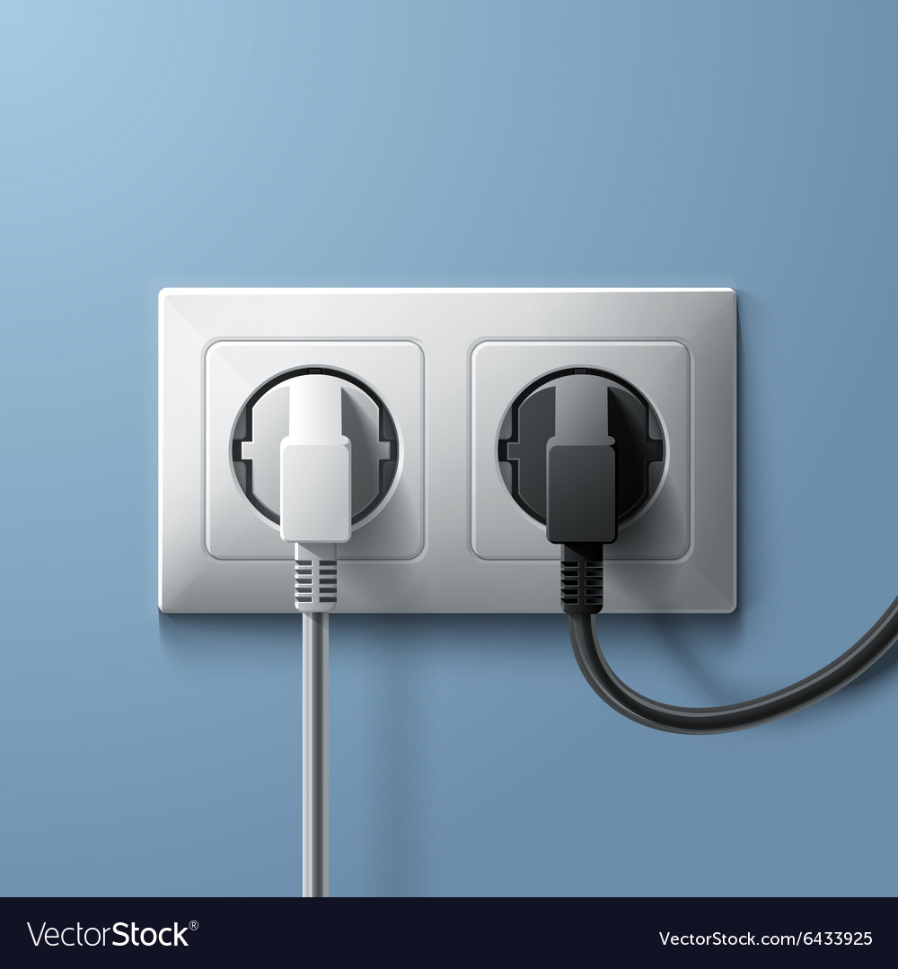 Electric white and black plugs with plastic socket