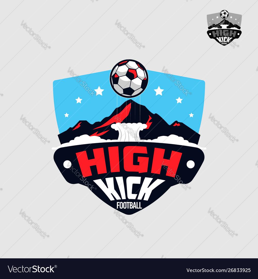 Football soccer team with mountain emblem logo