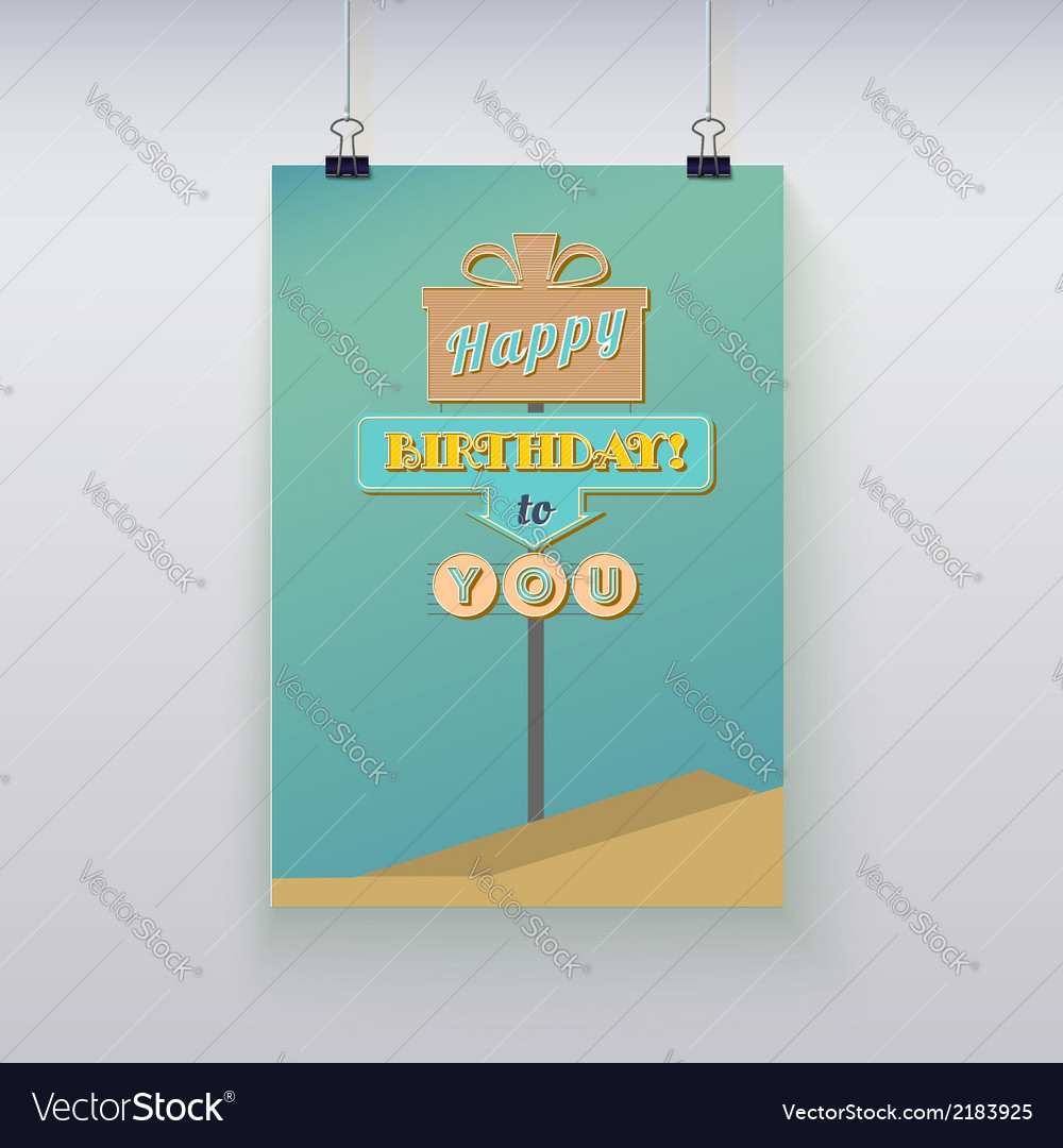 Poster hanging with birthday greetings
