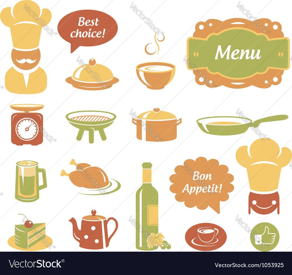 Restaurant and kitchen icons set