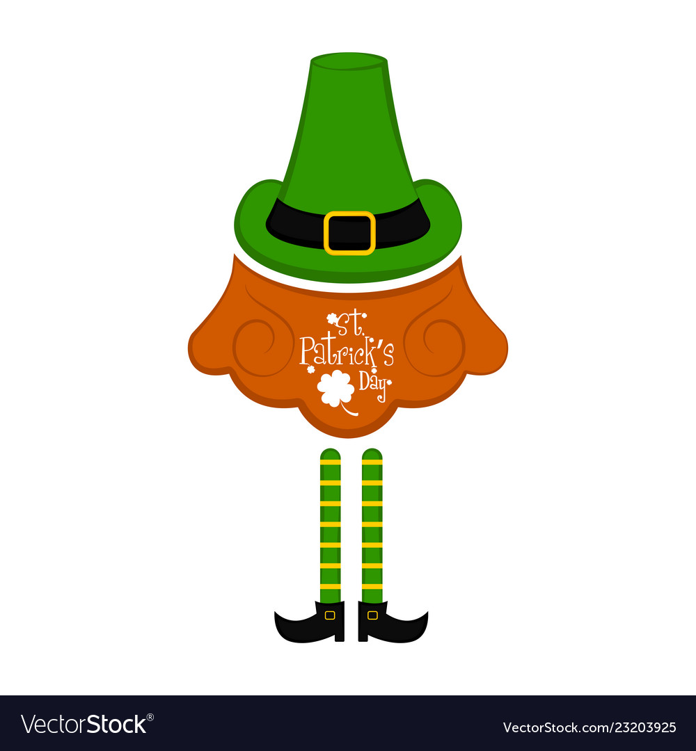 Traditional irish hat with beard and elf legs Vector Image 1ef4dacb35c
