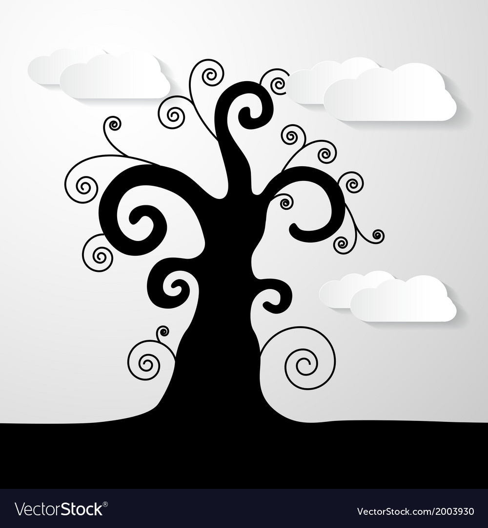 Abstract Black Tree With Paper Clouds
