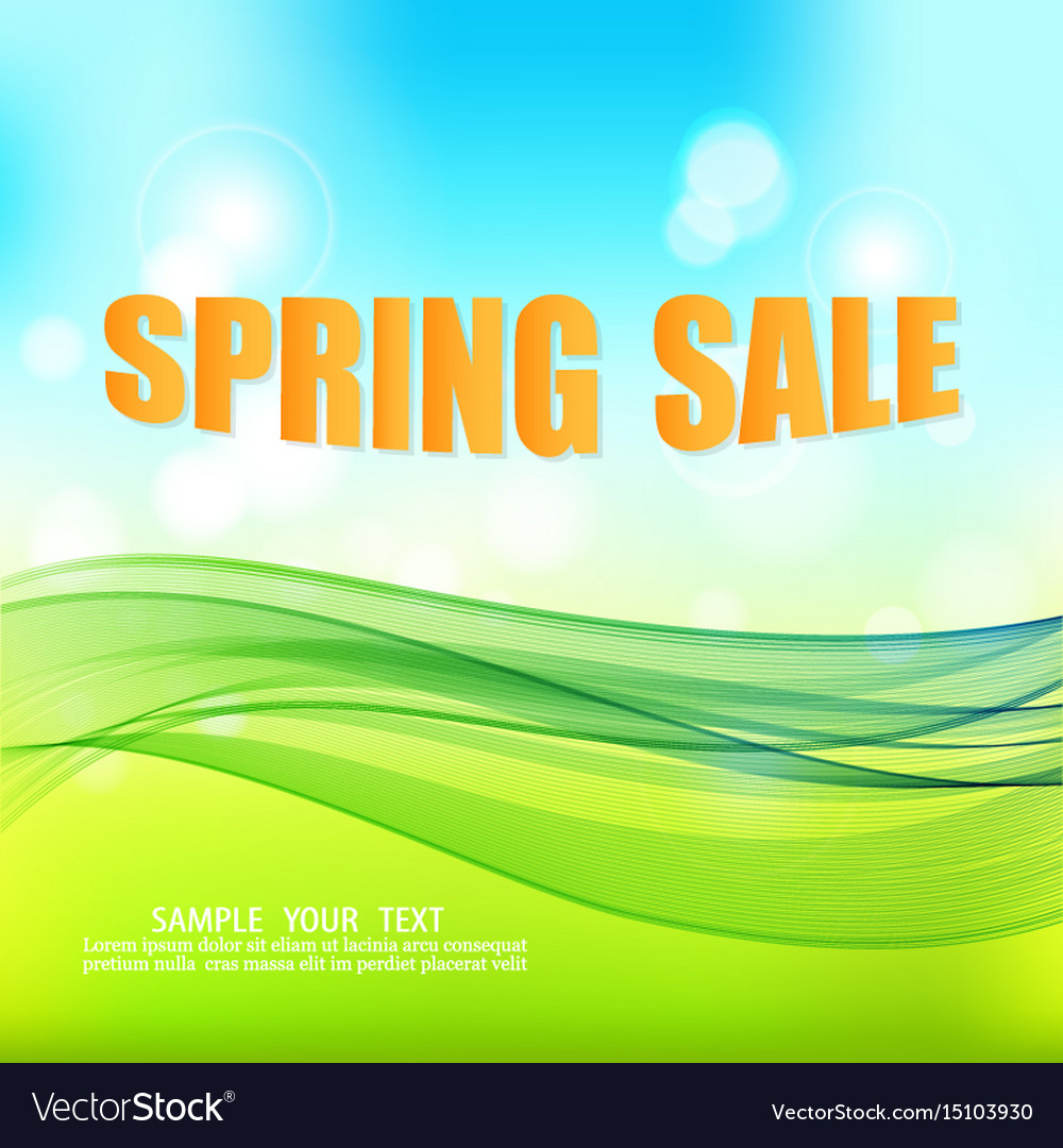 Blue Green Spring Abstract Background With Vector Image