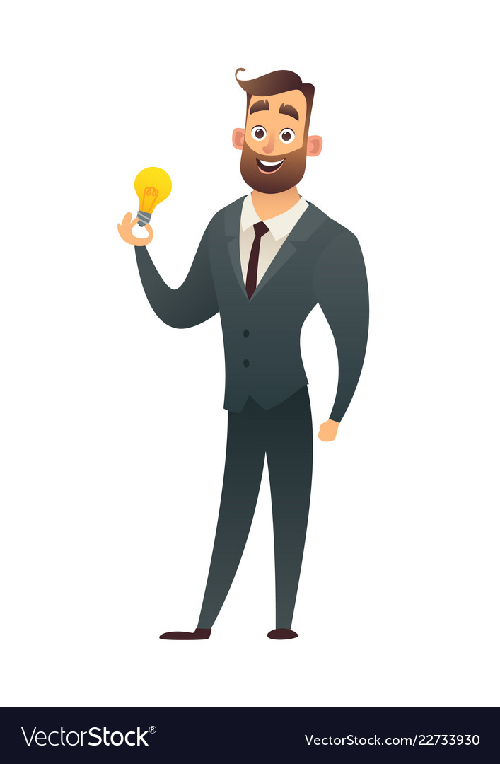 Businessman holds in hand light bulb showing