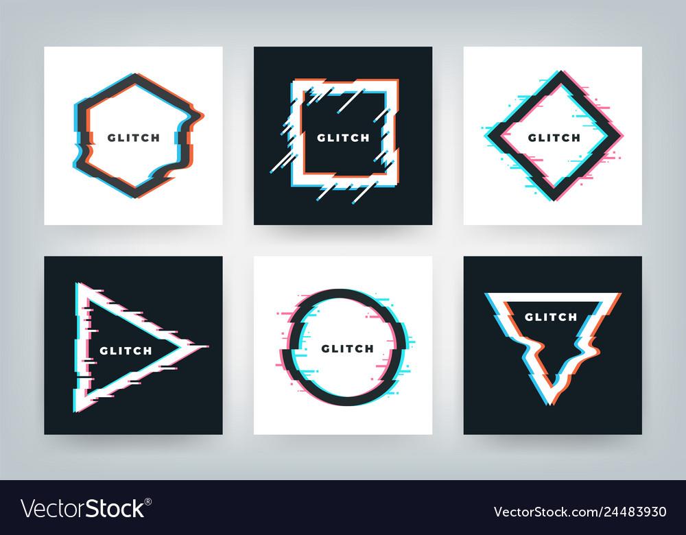 Glitch effect posters retro futuristic distortion