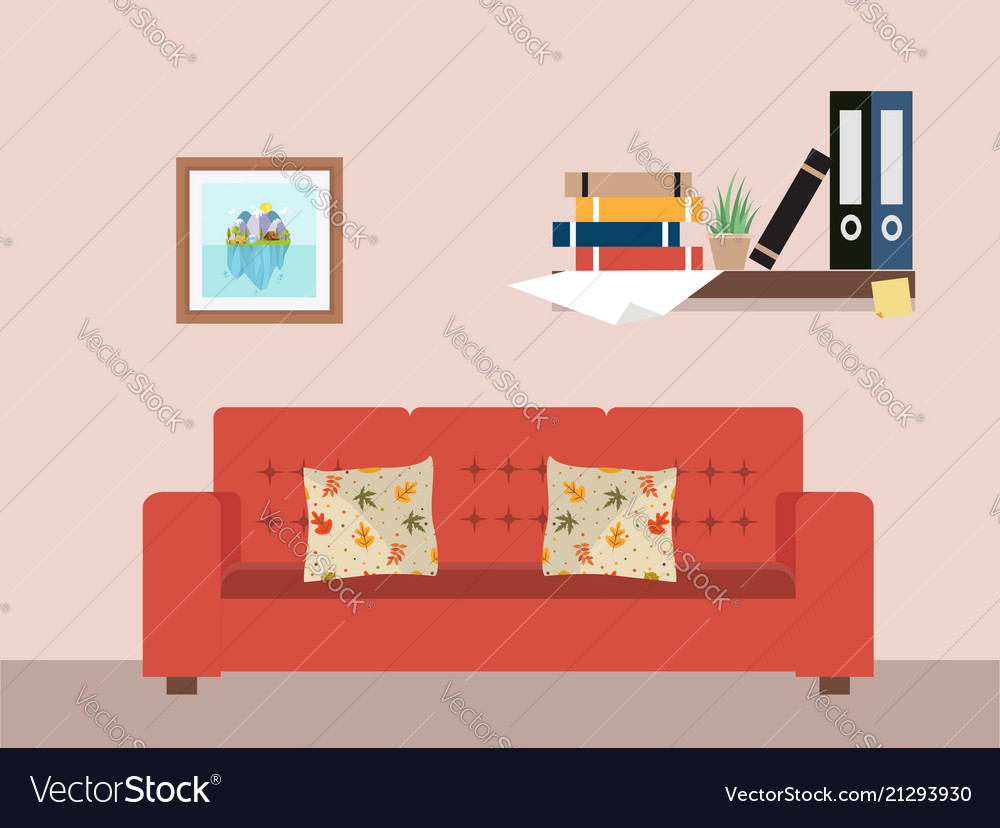 Living room with furniture workspace