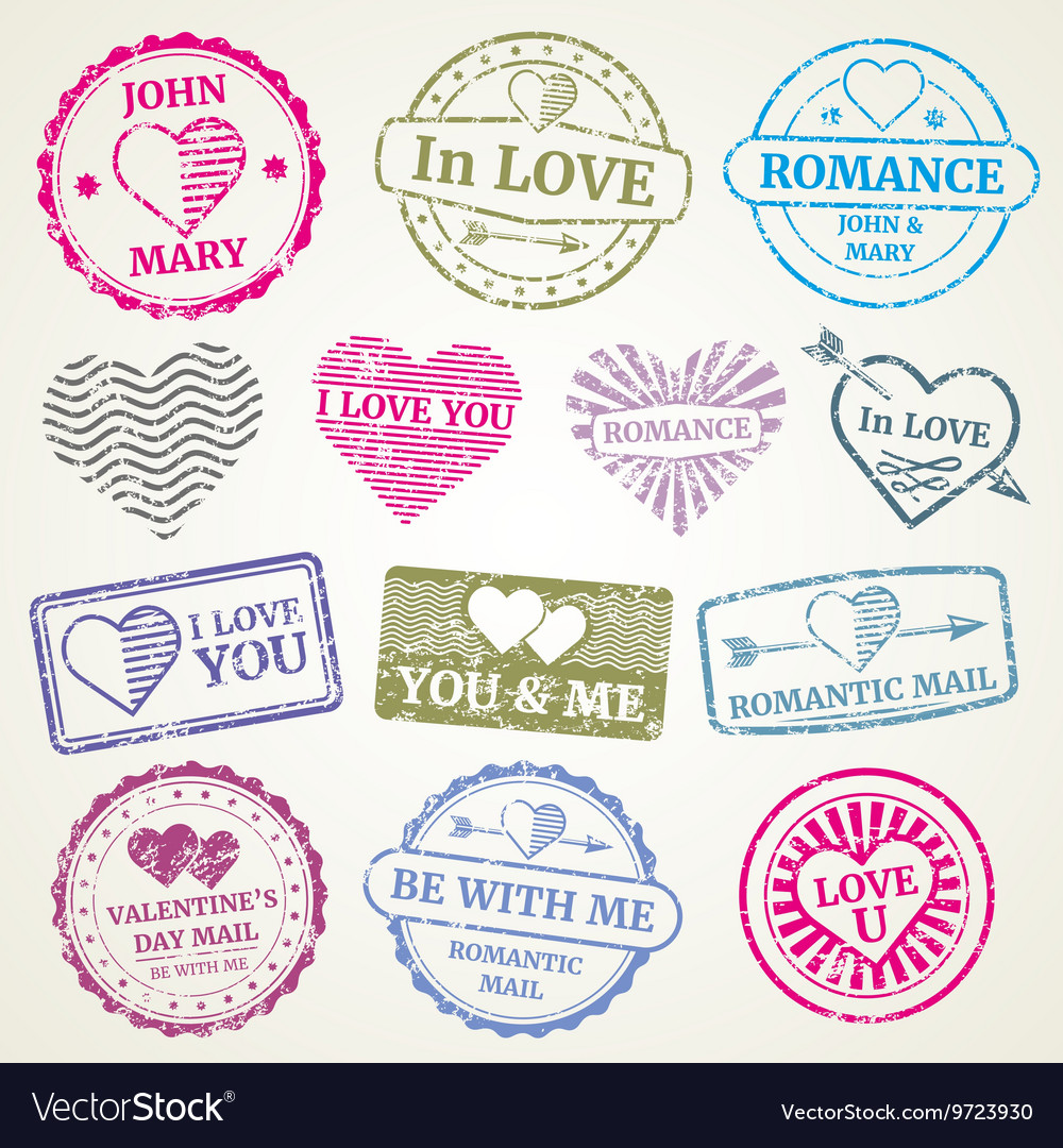 Romantic postage stamp set for wedding and