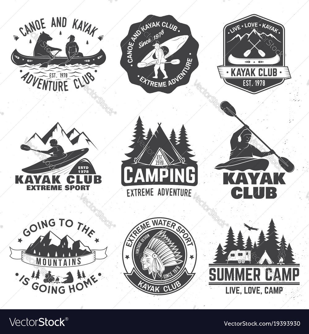 Set of canoe and kayak club badges vector image