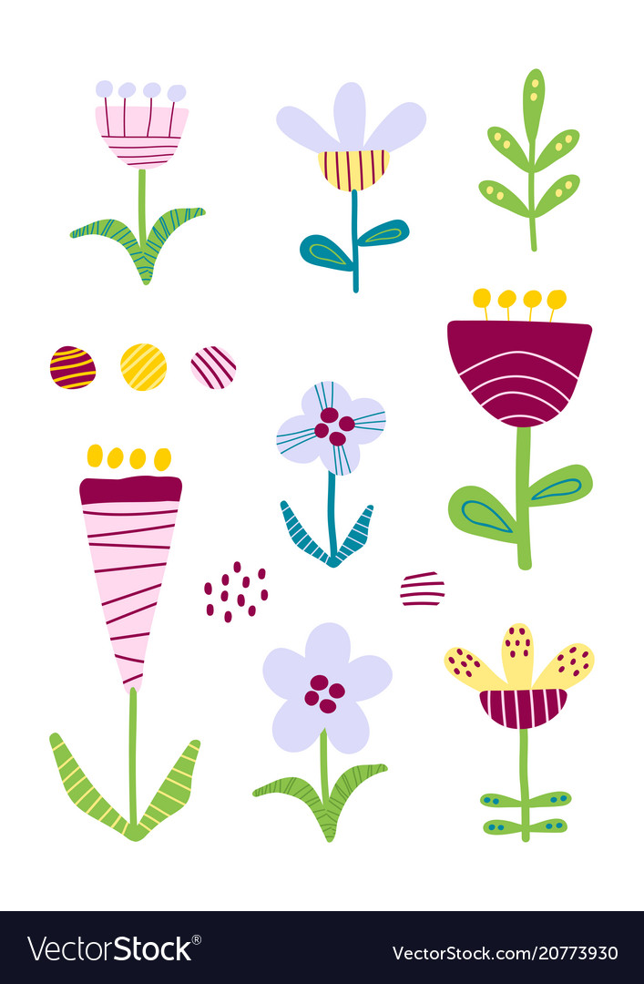 Set of cutout florals pretty colorful flowers vector image mightylinksfo