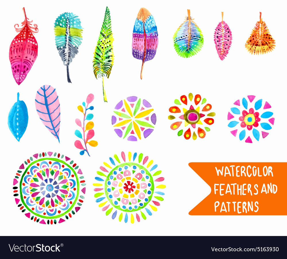 Watercolor feather and pattern collection