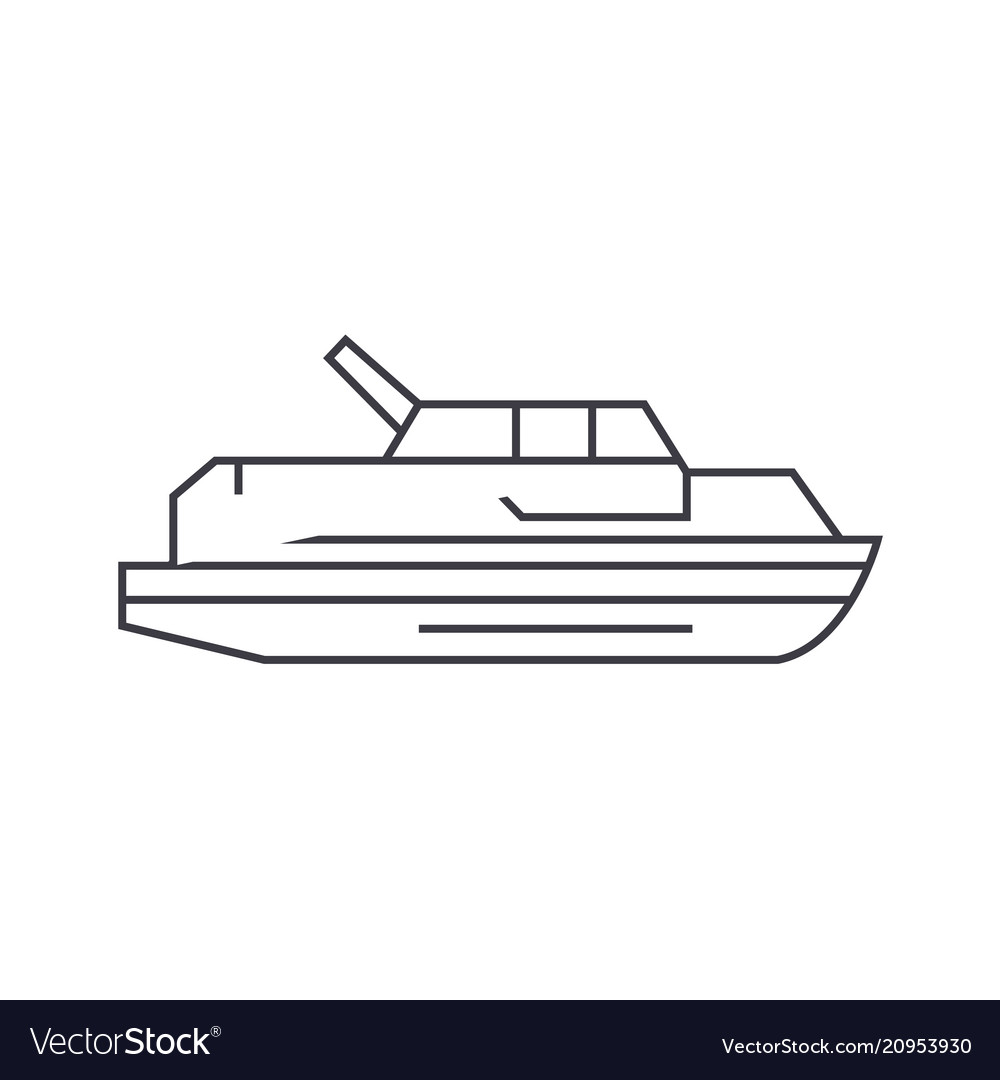 Yacht thin line icon concept yacht linear