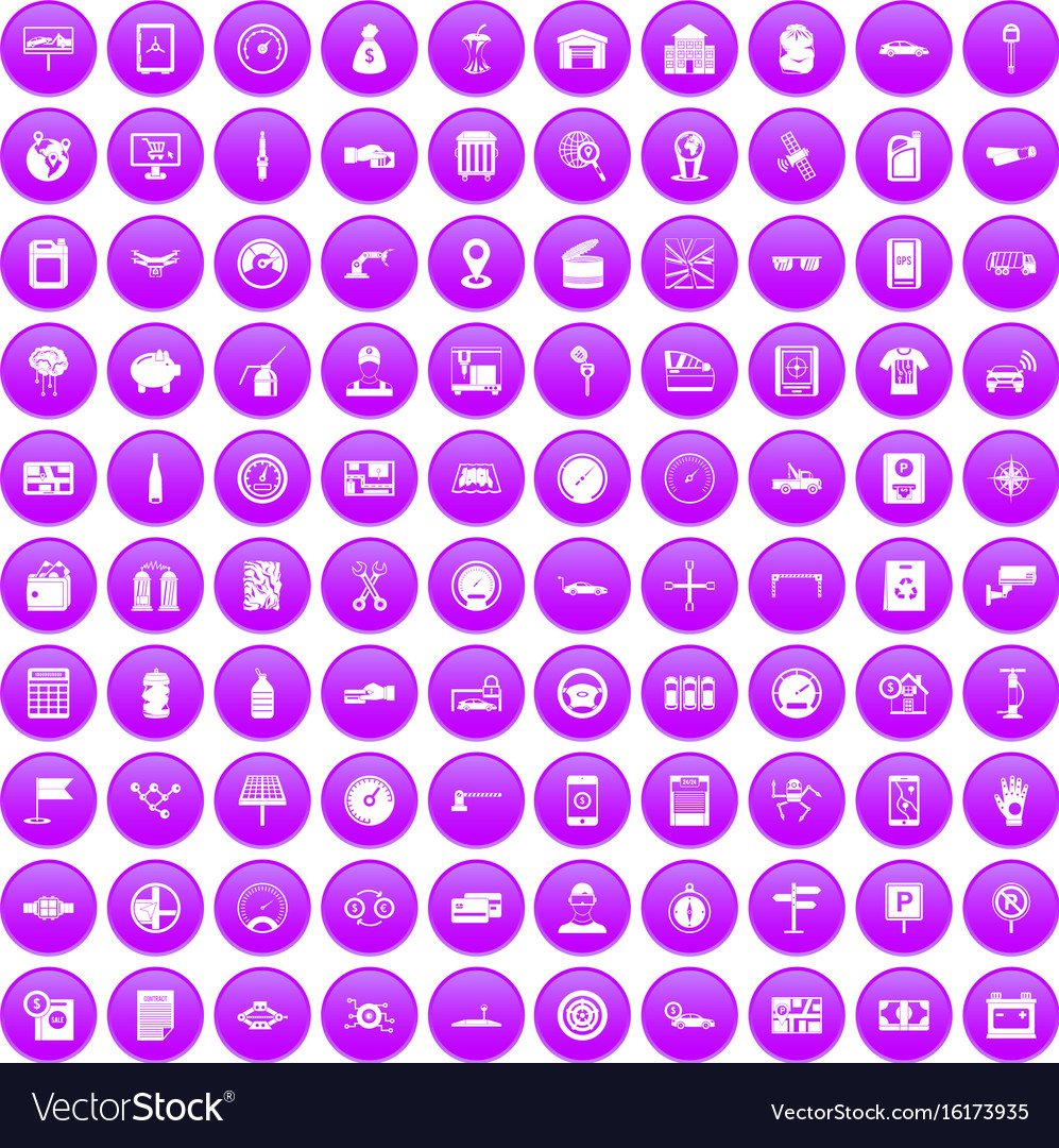 100 auto repair icons set purple vector image