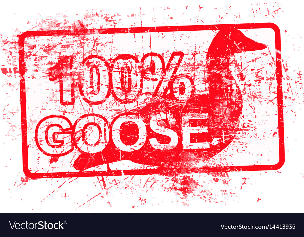 100 per cent goose - red rubber grungy stamp in