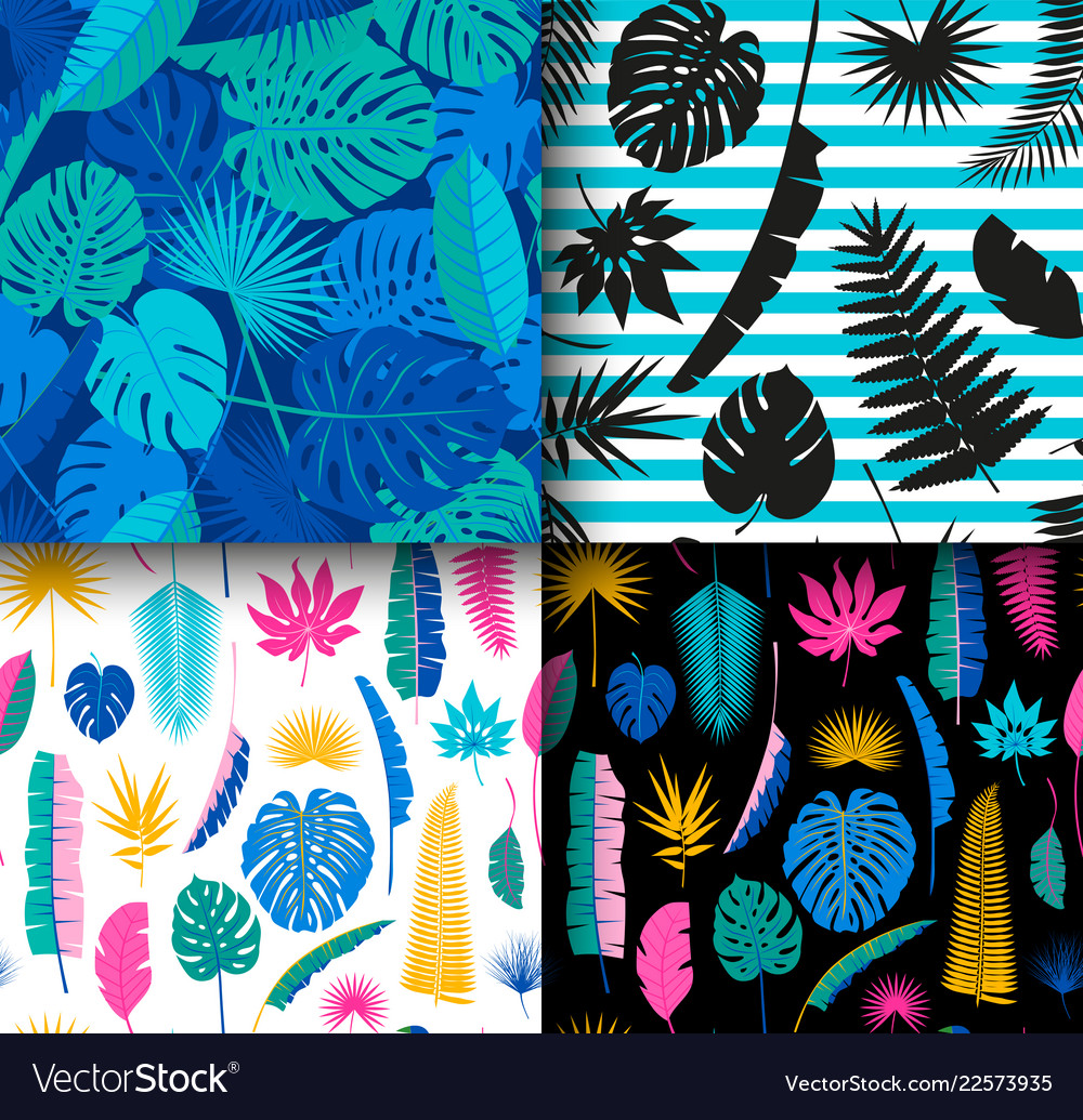 4 seamless tropical jungle floral patterns
