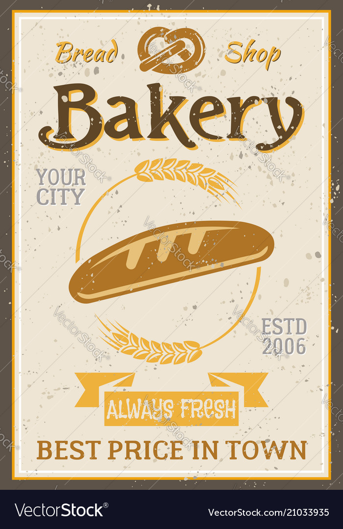 Bakery vintage poster with bread and wheat
