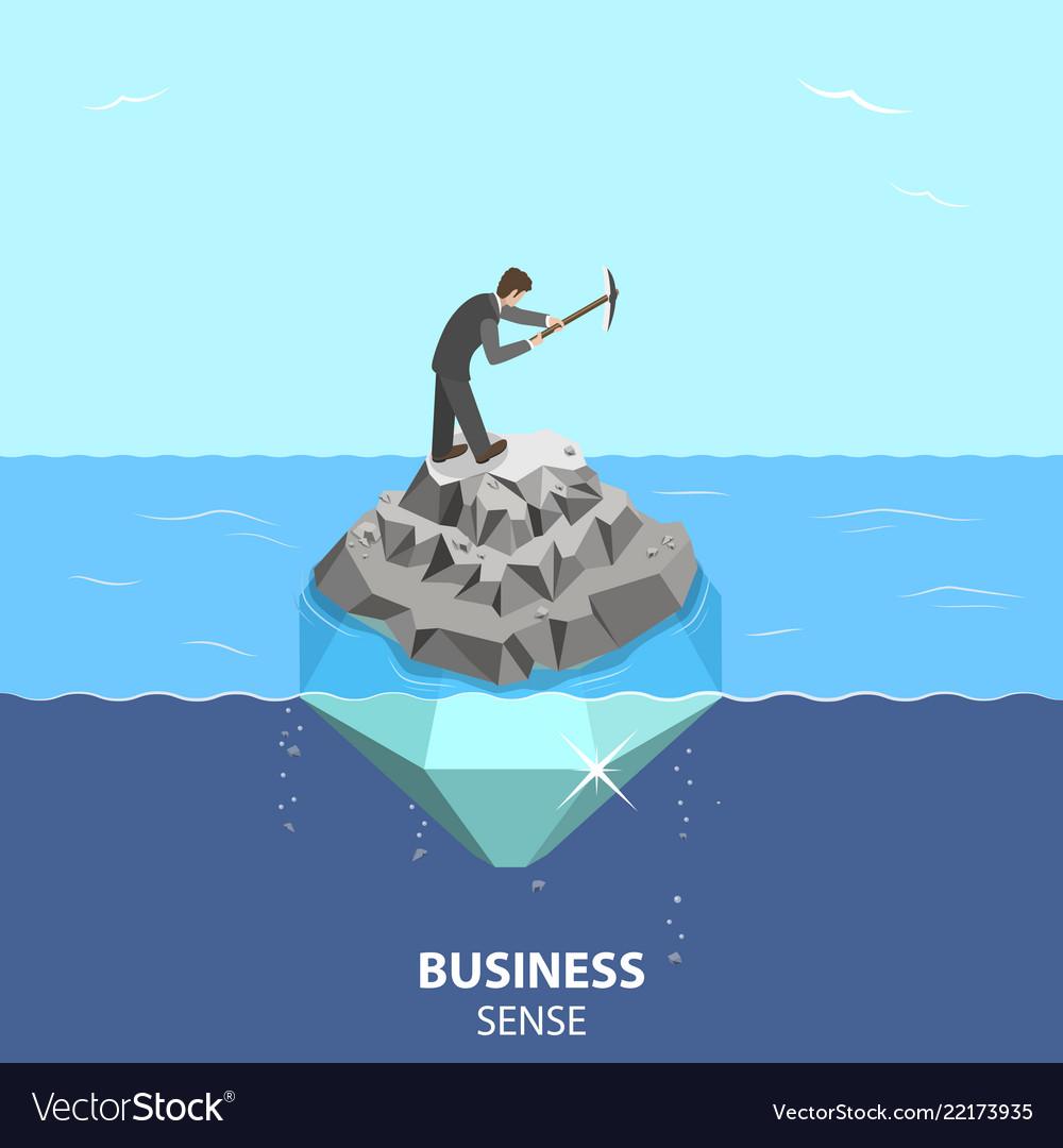 Business sense and strategy isometric flat