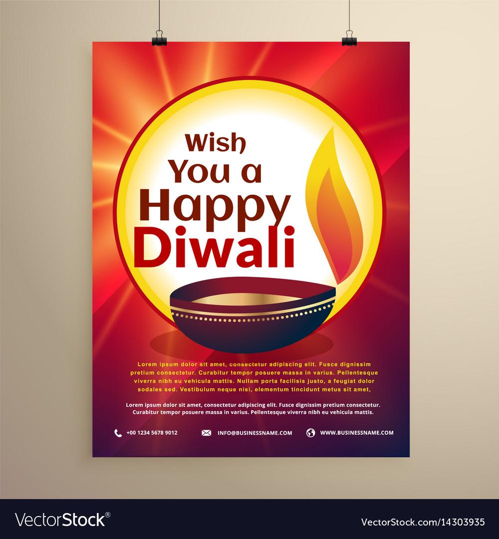 Diwali celebration flyer template for the Vector Image