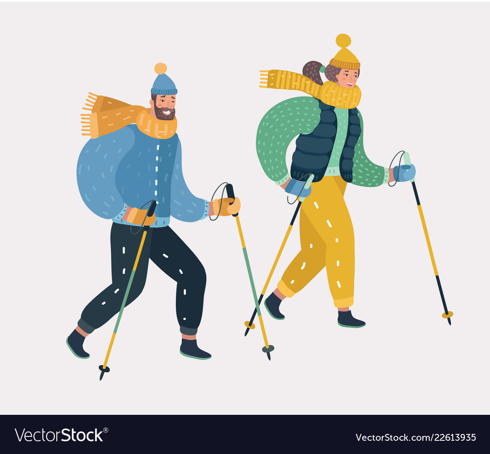 Man and woman nordic walking exercising