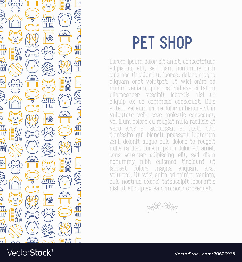 Pet shop concept with thin line icons
