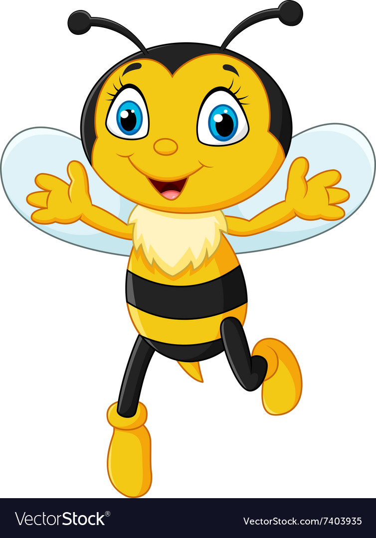 Smiley bee flying isolated on white background