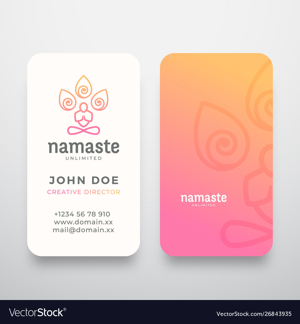 Yoga namaste concept logo and business card