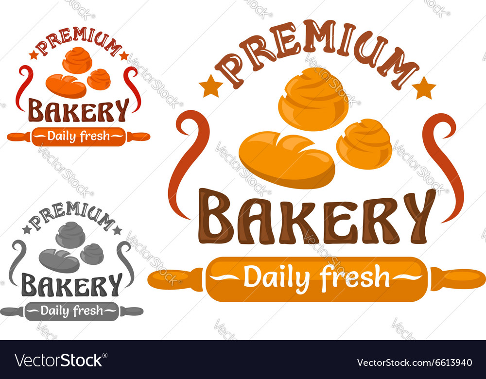 Bakery shop sign with buns and rolling pin