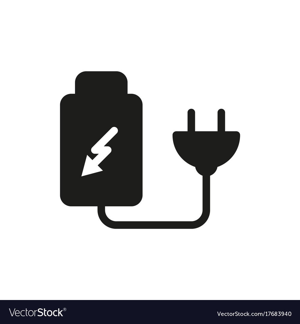 Battery charger by electric plug icon Royalty Free Vector