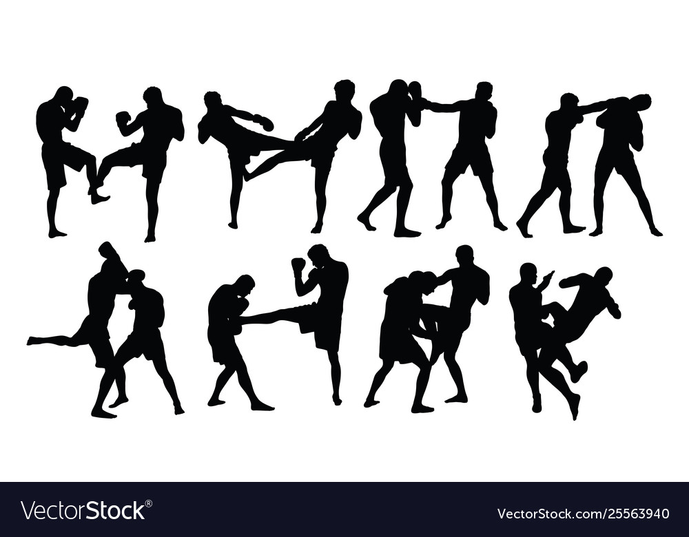Boxing sport silhouettes activity