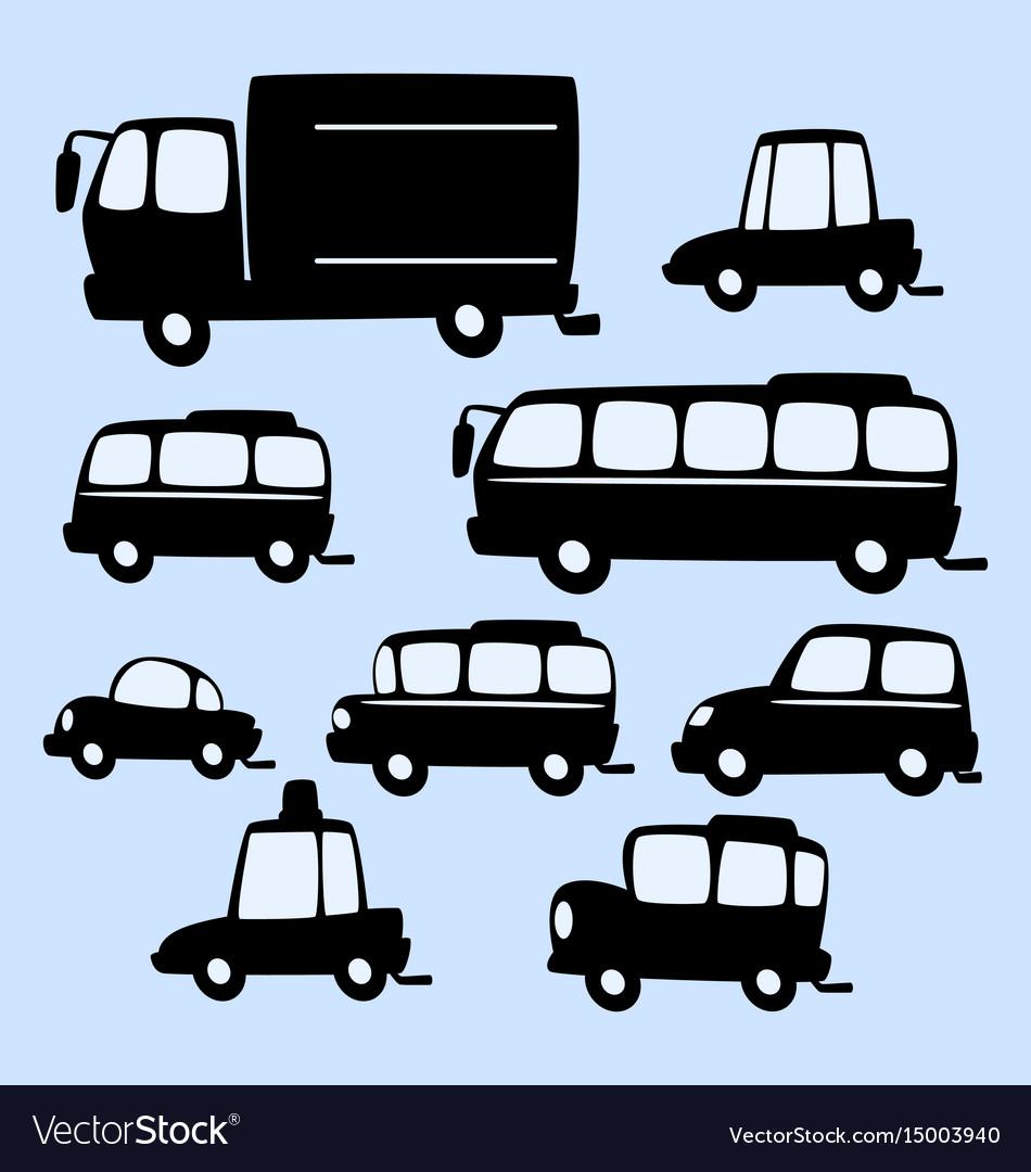 Cartoon truck bus car silhouette template