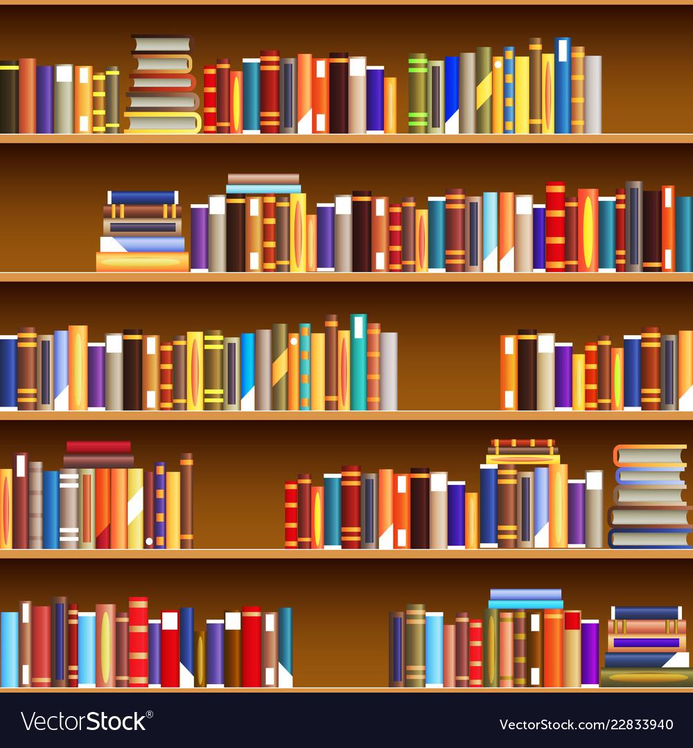 Cartoon vintage bookshelf seamless pattern design