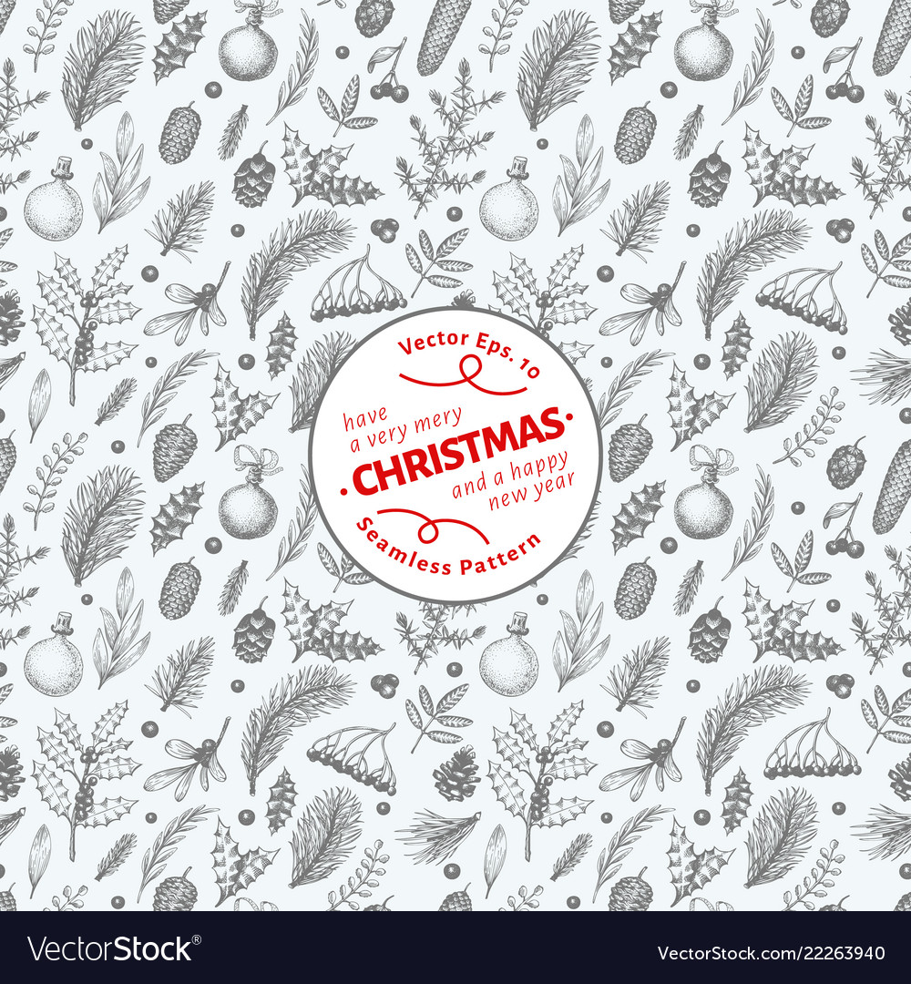 Christmas seamless pattern in vintage style