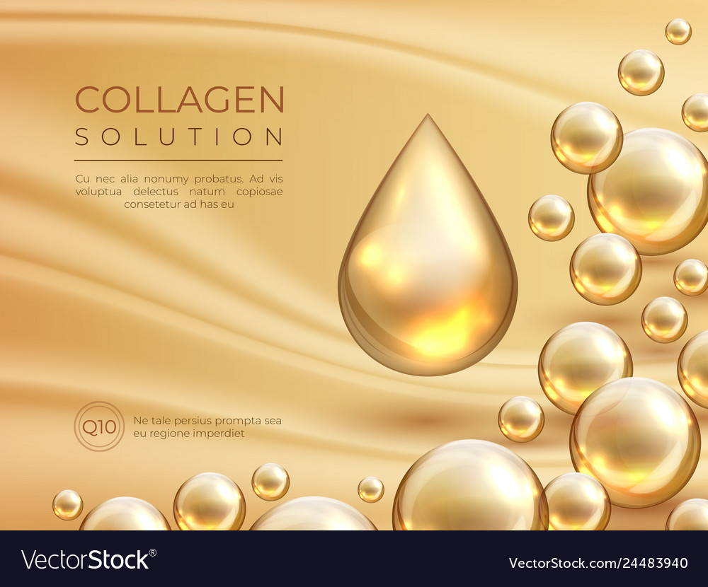 Collagen Background Cosmetic Skin Care Ad Banner Vector Image