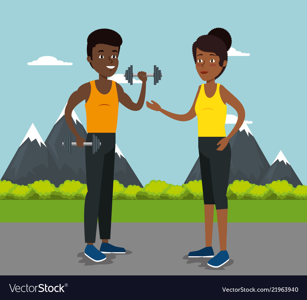 Couple athletes practicing sports