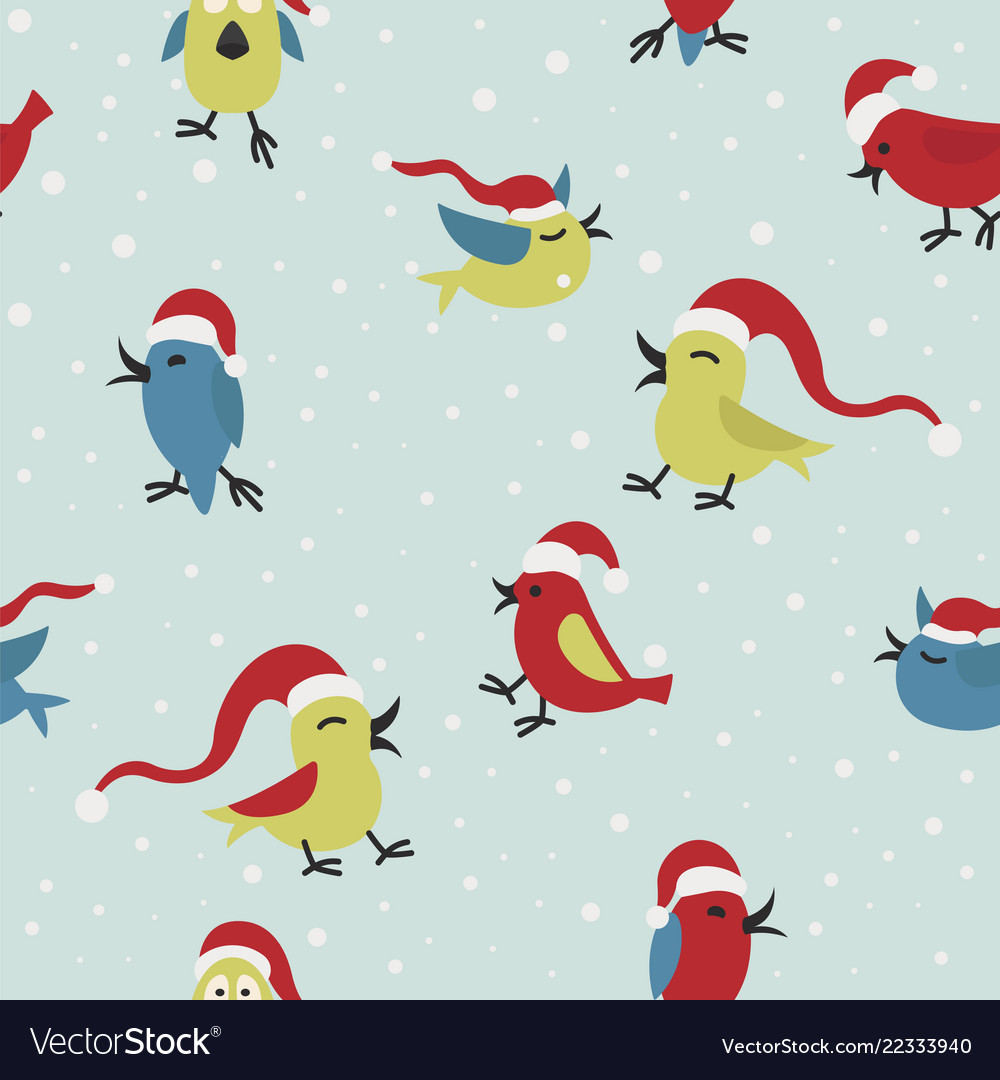 Cute funny santa claus birds seamless pattern