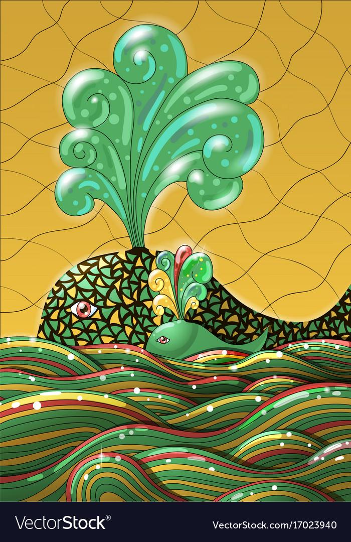 Cute unusual cartoon decorative whale and calf in