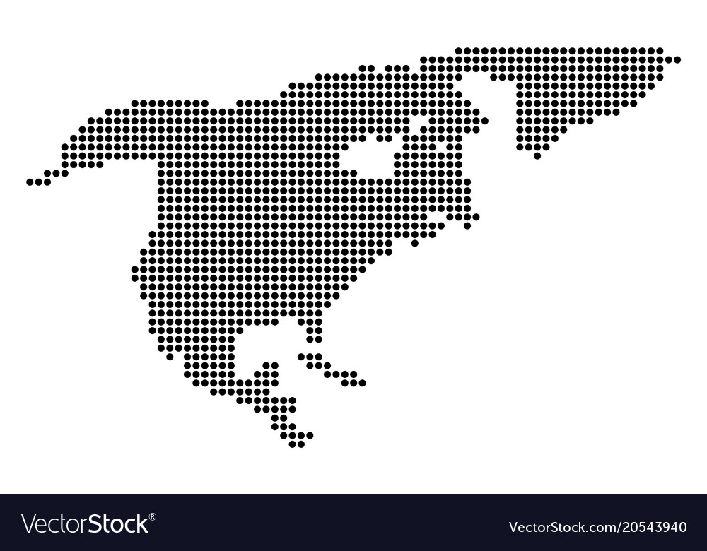 Free Vector Map Of North America.Dotted Pixel North America Map Royalty Free Vector Image
