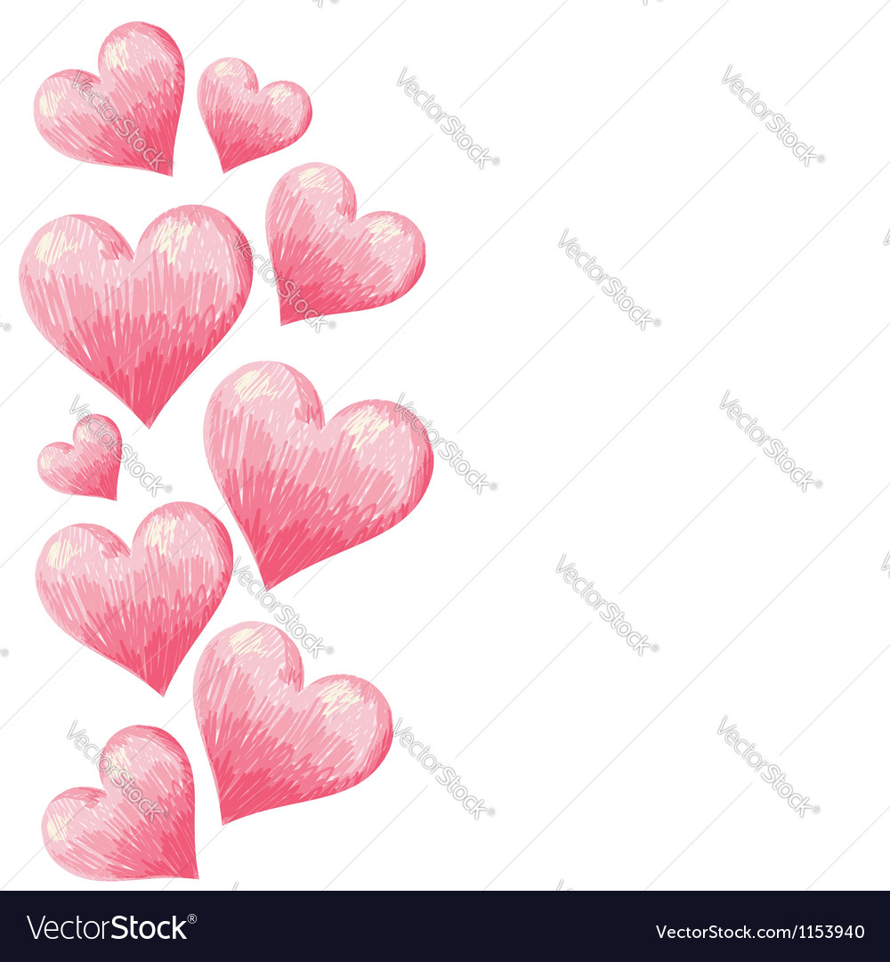 Hand drawn colorful Valentine hearts border vector image