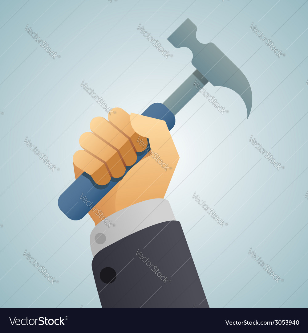 Hand hammer icon vector image
