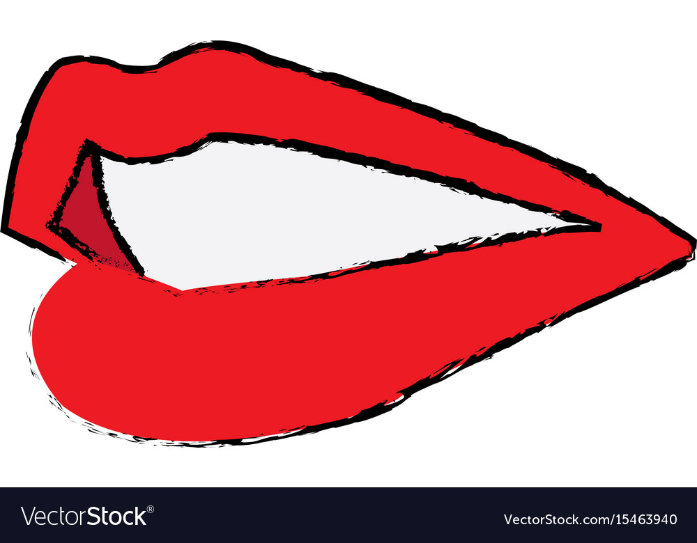 Lips mouth woman sensual icon vector image