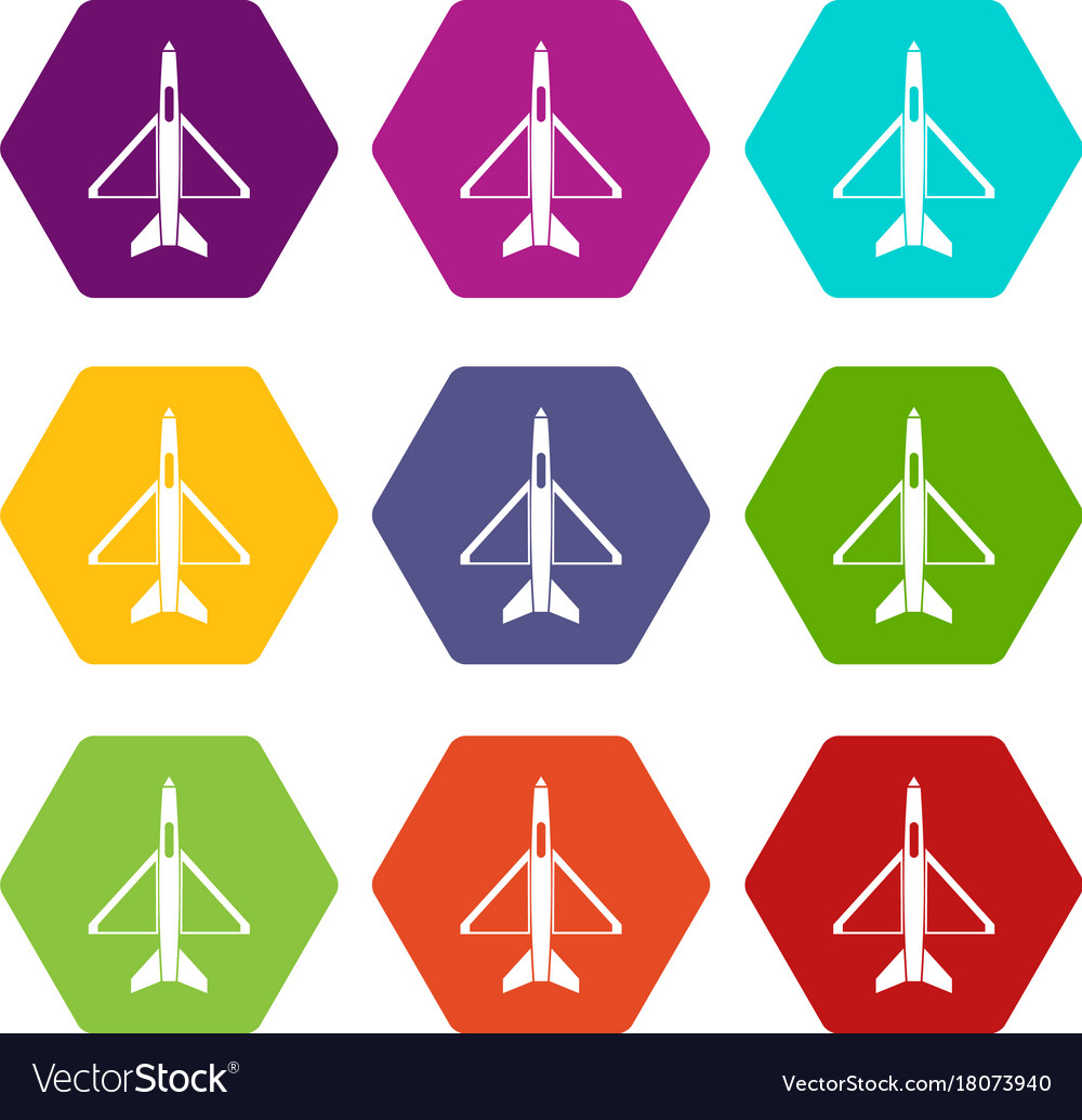 Military aircraft icon set color hexahedron