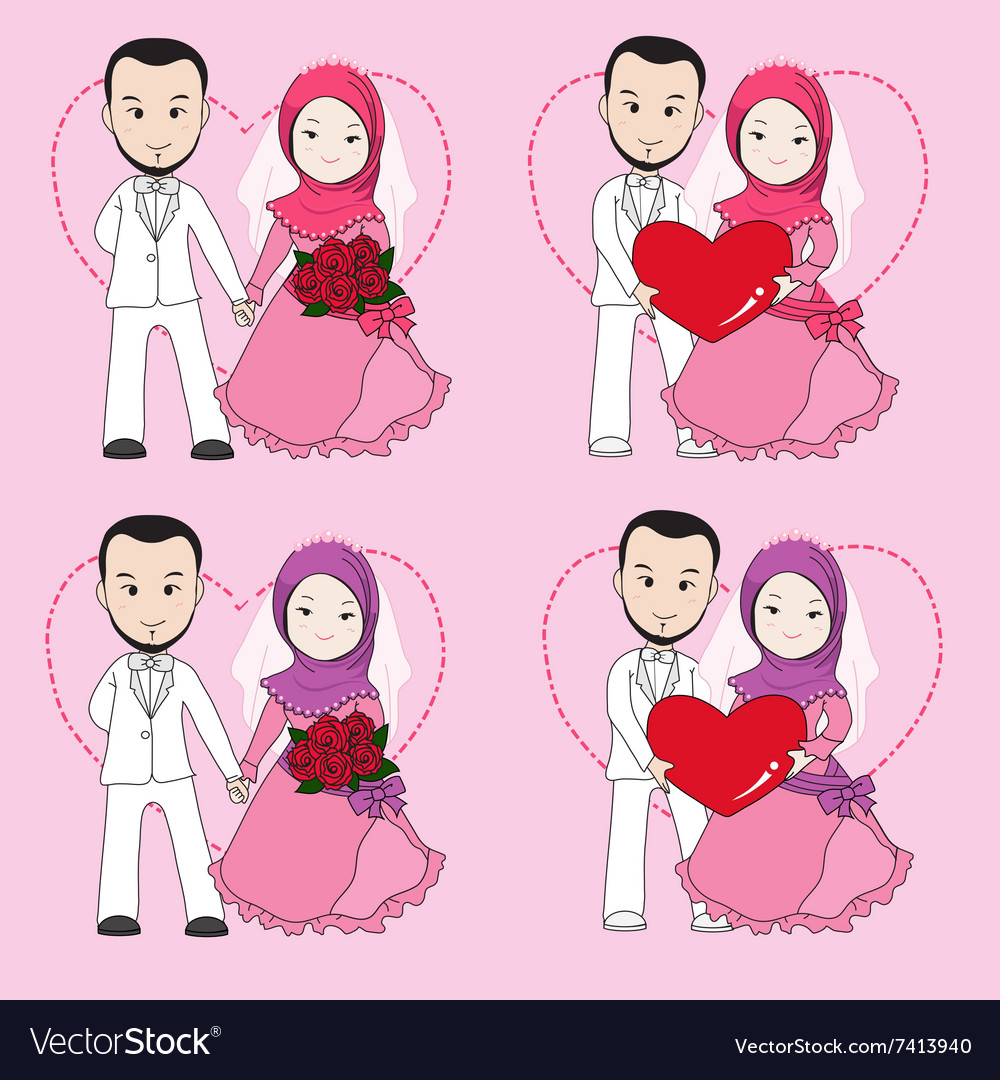 Muslim wedding couple vector image