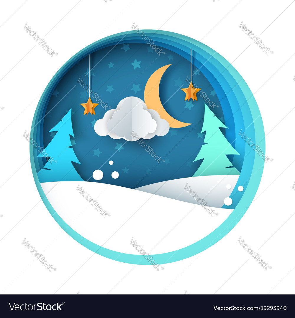 Paper night fir moon cloud snow