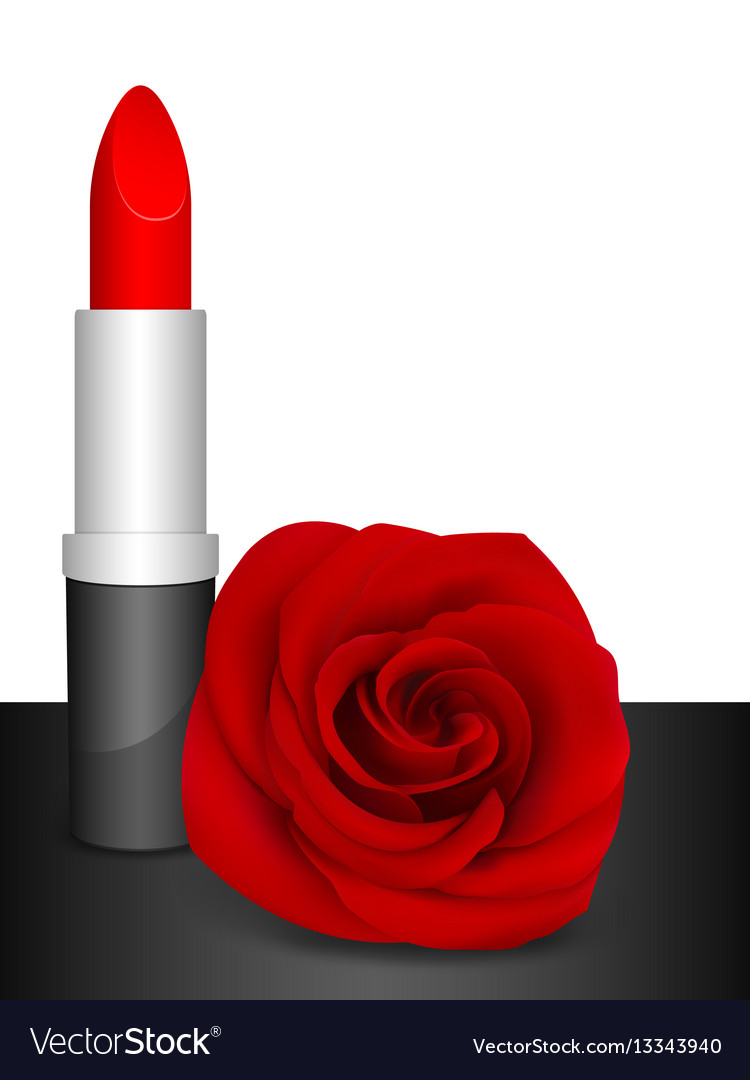 Red lipstick and red rose