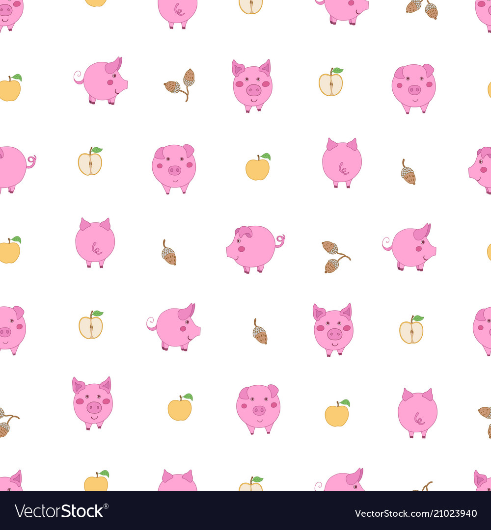 Seamless pattern with small cartoon pink pigs
