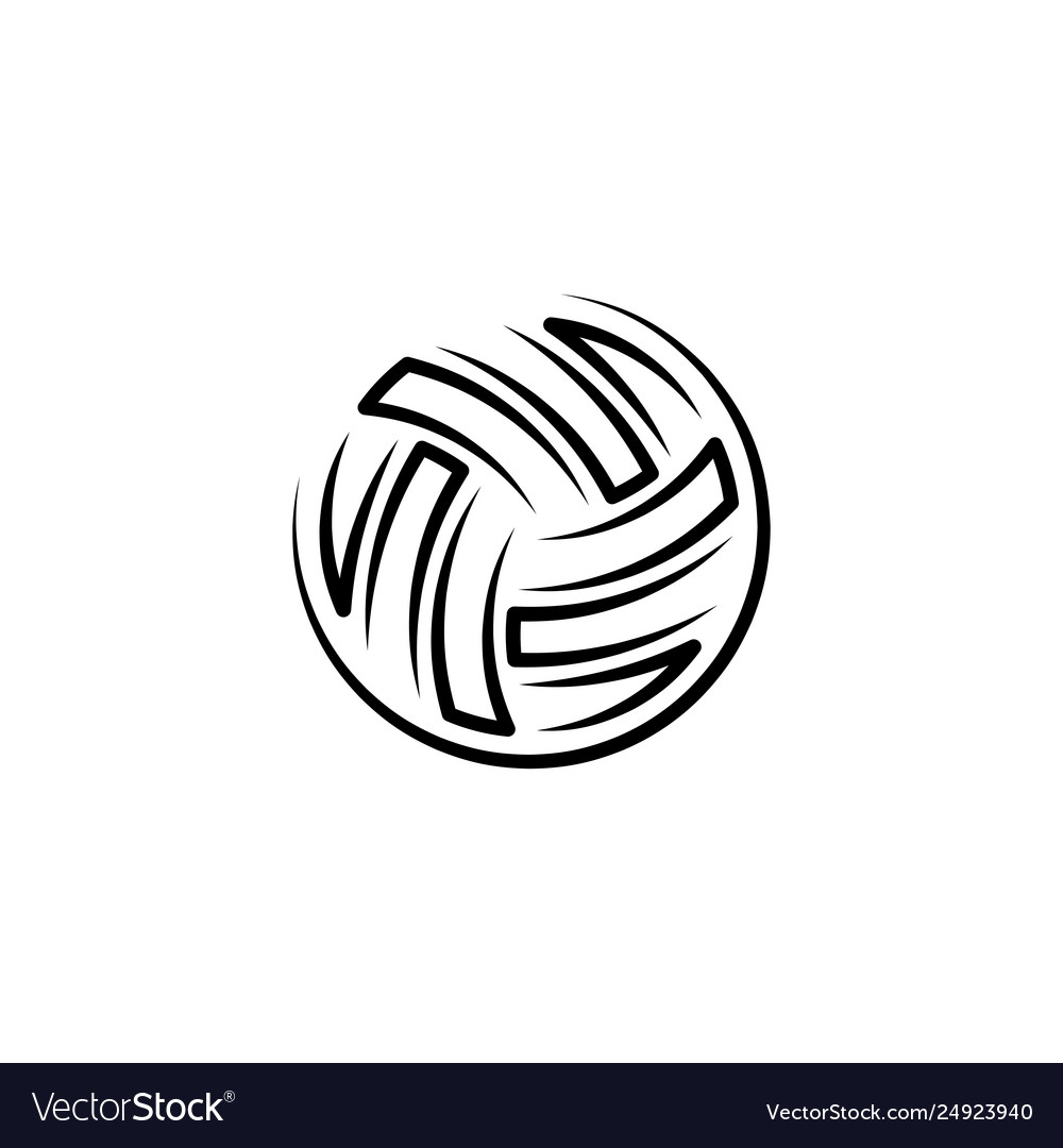 Volleyball Ball Black Icon Logo Royalty Free Vector Image