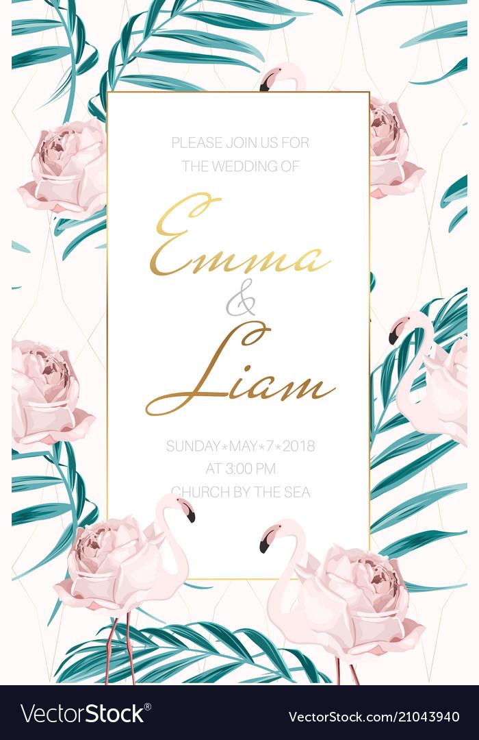 Wedding invite flamingo rose flower palm leaves