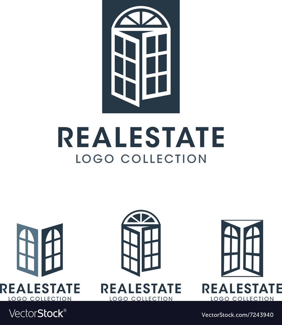 sc 1 st  VectorStock & Windows and French Door Logos and Icons with text Vector Image