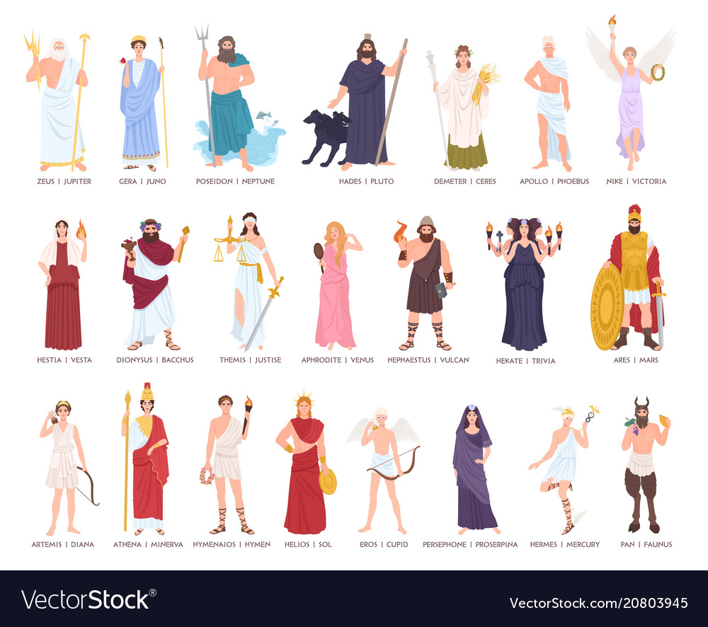 Collection of olympic gods and goddesses from